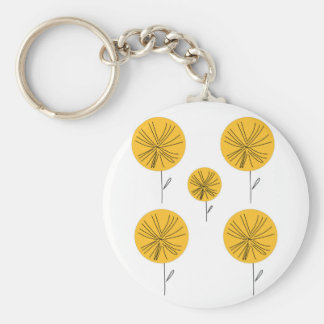 Dandelions gold on white keychain