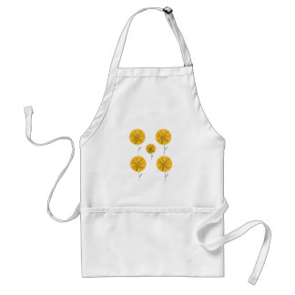 Dandelions gold on white standard apron