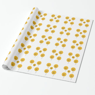 Dandelions gold on white wrapping paper