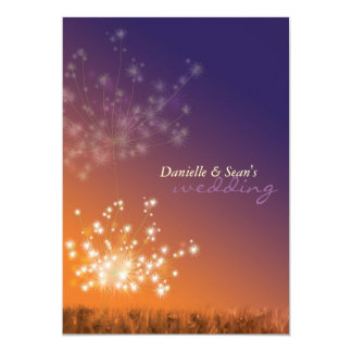 "Dandelions in Sunset Orange Purple Floral Wedding 5"" X 7"" Invitation Card"