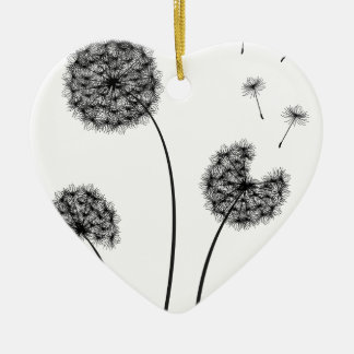 Dandelions Ceramic Heart Ornament