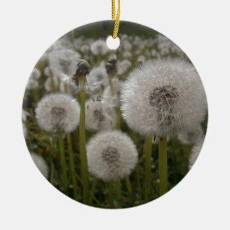 Dandelions Round Ceramic Ornament