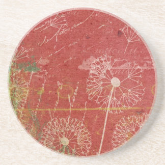 Dandelions Take Wind Against Pink Sky Abstract Beverage Coaster