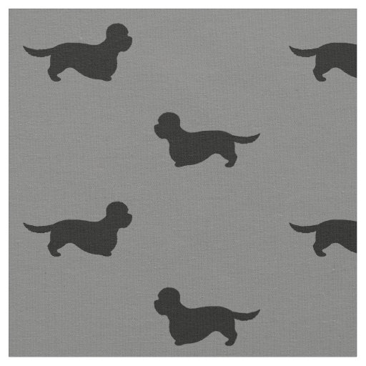 Dandie Dinmont Terrier Silhouettes Pattern Fabric