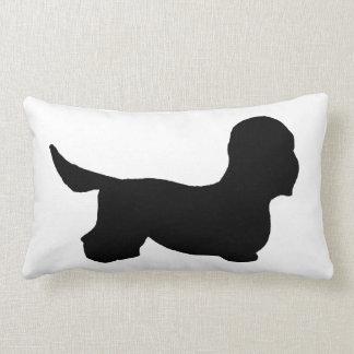 Dandie Dinmont Terrier silo black Lumbar Pillow