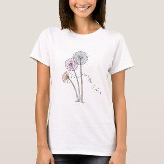 Dandilion Clocks Pink Blue and Cream T-Shirt