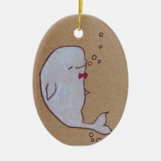dandy beluga ceramic oval ornament