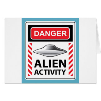 Danger Alien Activity Warning Sign Vector Card