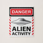 Danger Alien Activity Warning Sign Vector Jigsaw Puzzle