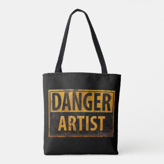 DANGER ARTIST Distressed Metal Rust Sign Tote Bag