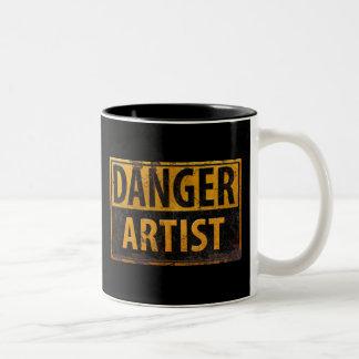 DANGER ARTIST, funny sign distressed metal Two-Tone Coffee Mug
