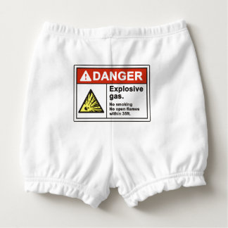 """Danger Explosive Gas"" Baby Bloomers Diaper Cover"