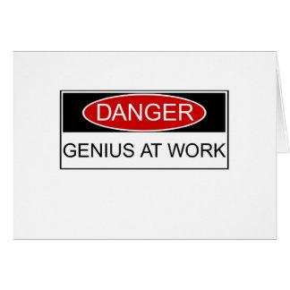 Danger Genius at Work Greeting Card