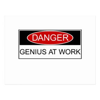 Danger Genius at Work Postcard