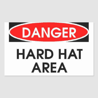 Danger Hard Hat Area Sticker (Rectangle)