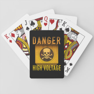 Danger High Voltage Retro Atomic Age Grunge : Playing Cards