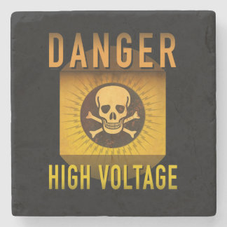 Danger High Voltage Retro Atomic Age Grunge : Stone Beverage Coaster