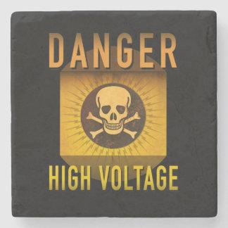 Danger High Voltage Retro Atomic Age Grunge : Stone Coaster