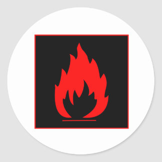Danger Highly Flammable Warning Sign Chemical Burn Classic Round Sticker