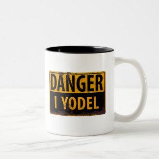 DANGER I YODEL funny sign distressed rusty metal Two-Tone Coffee Mug