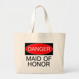 Danger - Maid Of Honor Funny Wedding T-Shirt Mug Large Tote Bag