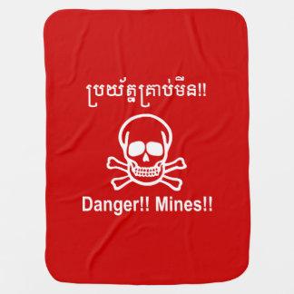 Danger!! Mines!! ☠ Cambodian Khmer Sign ☠ Receiving Blankets
