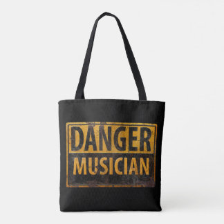 DANGER Musician Distressed Metal Rust Sign Black Tote Bag