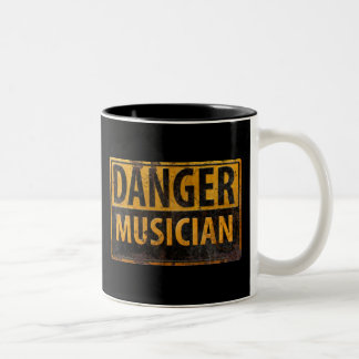 DANGER MUSICIAN, funny sign distressed metal Two-Tone Coffee Mug