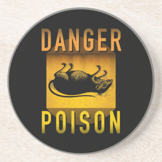 Danger Poison Warning Retro Atomic Age Grunge : Coaster