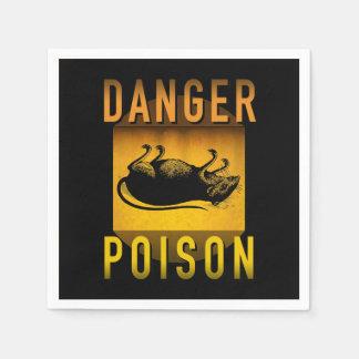 Danger Poison Warning Retro Atomic Age Grunge : Napkin
