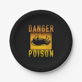 Danger Poison Warning Retro Atomic Age Grunge : Paper Plate