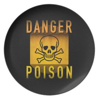Danger Poison Warning Retro Atomic Age Grunge : Plate