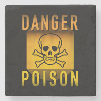 Danger Poison Warning Retro Atomic Age Grunge : Stone Coaster