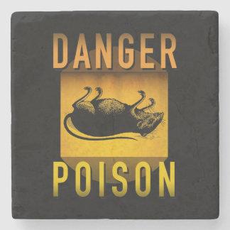 Danger Poison Warning Retro Atomic Age Grunge : Stone Coaster