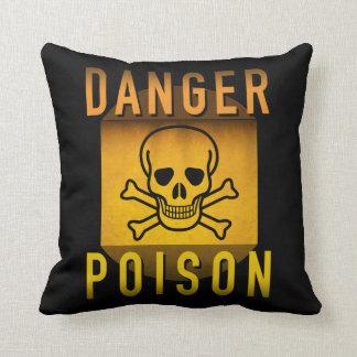 Danger Poison Warning Retro Atomic Age Grunge : Throw Pillow
