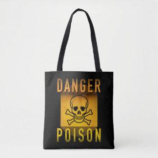 Danger Poison Warning Retro Atomic Age Grunge : Tote Bag