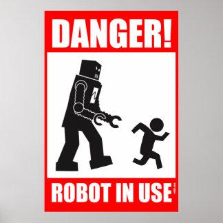 Danger ! Robot en service Poster