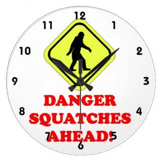 Danger Squatches ahead Large Clock