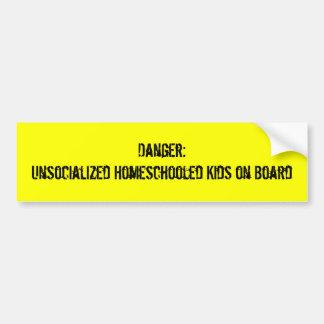 Danger:Unsocialized Homeschooled Kids on Board Bumper Sticker