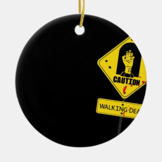 Danger Walking Zombies Round Ceramic Ornament