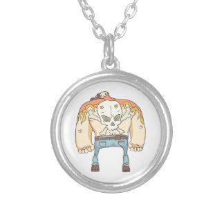 Dangerous Criminals Set Of Outlined Comics Style Silver Plated Necklace