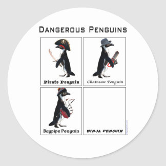 dangerous penguins round sticker