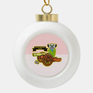 Dangerously Cute Pug Ceramic Ball Ornament