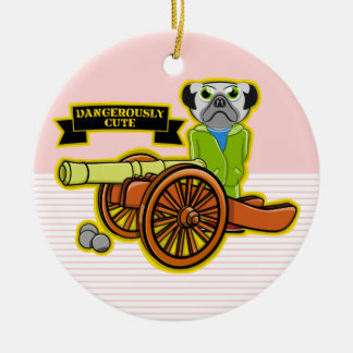 Dangerously Cute Pug Wearing Tracksuit Round Ceramic Ornament