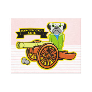 Dangerously Cute Pug With A Cannon Canvas Print