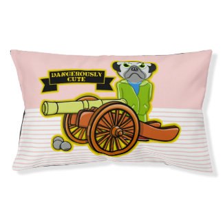 Dangerously Cute Pug With A Cannon Small Dog Bed