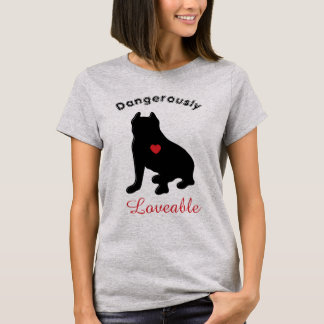 Dangerously Lovable Pitbull Silhouette T-Shirt