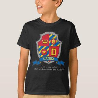 Daniel boys D name & meaning knights shield T-Shirt
