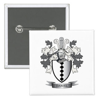 Daniel Family Crest Coat of Arms 2 Inch Square Button