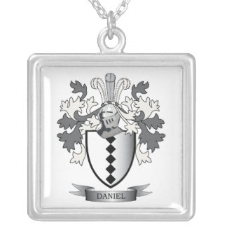 Daniel Family Crest Coat of Arms Silver Plated Necklace